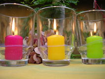 Ambiance candles in garden royalty free stock photos