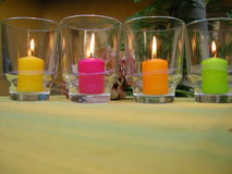 Ambiance candles in garden Royalty Free Stock Image