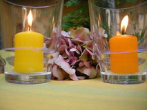 ambiance candles outdoor Royalty Free Stock Images