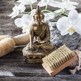 Ambiance for cleansing and detox treatment with Buddha in mind. Spa beauty treatment concept - symbol of cleansing and exfoliation for inner beauty with Buddha Royalty Free Stock Photos