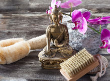 Ambiance for detox and cleansing treatment with Buddha in mind. Spa beauty treatment concept - symbol of washing-up and exfoliation for inner beauty with Buddha Royalty Free Stock Image