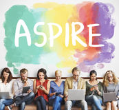 Ambicja cel Aspiruje cel motywaci dążeń pojęcie obrazy royalty free