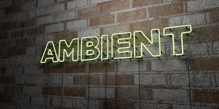 AMBIENT - Glowing Neon Sign on stonework wall - 3D rendered royalty free stock illustration. Can be used for online banner ads and direct mailers vector illustration