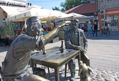 Ambient monument to Serbian writer Stevan Sremac. Ambient monument dedicated to classic and famous Serbian writer Stevan Sremac, erected in Nis, Serbia stock images