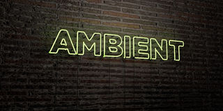 AMBIENT -Realistic Neon Sign on Brick Wall background - 3D rendered royalty free stock image. Can be used for online banner ads and direct mailers vector illustration