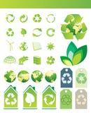 Ambiental/reciclando iconos Foto de archivo libre de regalías