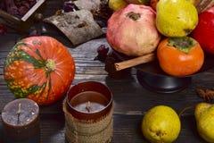 Ambientazione di frutta autunnale Royaltyfri Fotografi