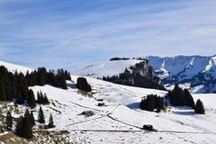Ambiente alpino en las montañas suizas Imagen de archivo