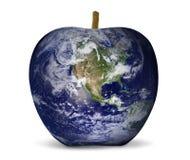 Ambiente da maçã do mapa de mundo Fotografia de Stock Royalty Free