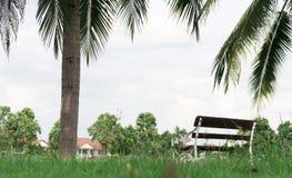 Ambiente del giardino nel villaggio con il benche del metallo bianco e fotografia stock