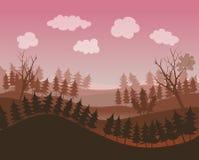 Ambiente del paesaggio con alcuni alberi e nuvole Fotografia Stock Libera da Diritti