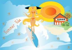 Ambiente del verano - tiempo de la resaca stock de ilustración