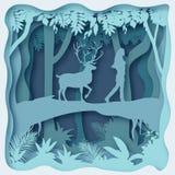 Ambiente della foresta, vettore ENV 10 dell'estratto del taglio della carta illustrazione di stock