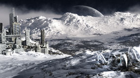 Ambiente distante do planeta do gelo Fotografia de Stock Royalty Free