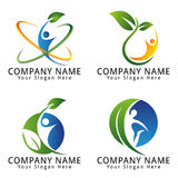 Ambiente, ecologia, benessere, natura, agricoltura e concetto naturale Logo With Single People Fotografia Stock