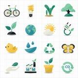 Ambiente ed icone verdi Immagini Stock Libere da Diritti
