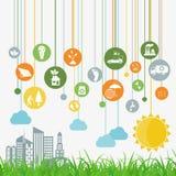 Ambiente, elementi infographic di ecologia Rischi ambientali, Fotografia Stock