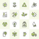 Ambiente, energia rinnovabile, tecnologia sostenibile, riciclante, soluzioni di ecologia Icone per il sito Web, progettazione di  Immagini Stock