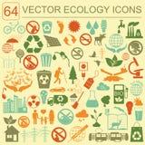 Ambiente, grupo do ícone da ecologia Riscos ambientais, ecossistema Imagem de Stock Royalty Free
