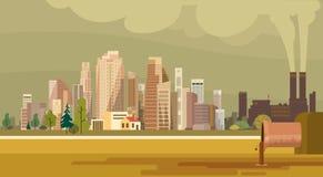 Ambiente poluído da tubulação da planta da cidade da poluição da natureza águas residuais sujas ilustração stock