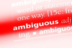 Ambiguous. Word in a dictionary.  concept royalty free stock photography