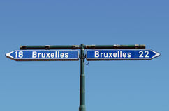 Ambiguous road-sign. Ambiguous road sign in Belgium on a crossroad. Concept of confusion and contradiction, choice and dilemma, humour Stock Photography