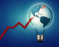 Ambiti di provenienza astratti di industria e di potere con la lampadina elettrica e Fotografia Stock