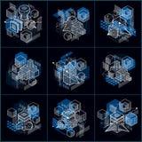 Ambiti di provenienza astratti isometrici con le forme dimensionali lineari, elementi della maglia di vettore 3d Composizioni dei illustrazione di stock