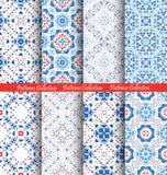 Ambiti di provenienza blu di Boho dei modelli di fiore Immagini Stock Libere da Diritti