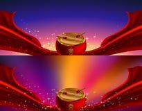 Grande tamburo e nastro rosso Immagine Stock Libera da Diritti