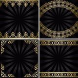 Ambiti di provenienza con le decorazioni dell'oro ed i raggi - annata nera Fotografia Stock