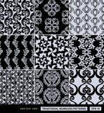 Ambiti di provenienza d'annata messi, ornamenti del damasco Fotografia Stock