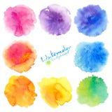 Ambiti di provenienza delle macchie della pittura dell'acquerello di colori dell'arcobaleno messi Fotografia Stock