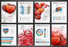 Ambiti di provenienza di giorno di biglietti di S. Valentino con i cuori Fotografia Stock
