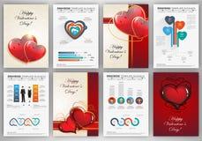 Ambiti di provenienza di giorno di biglietti di S. Valentino con il infographics Fotografia Stock