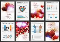 Ambiti di provenienza di giorno di biglietti di S. Valentino con l'insieme di infographics Immagini Stock