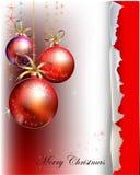 Ambiti di provenienza di Natale con le palle e il robbin Fotografia Stock Libera da Diritti