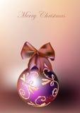 Ambiti di provenienza di Natale con le palle e il robbin Immagini Stock