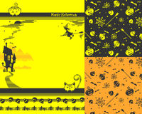 Ambiti di provenienza felici di Halloween ed elementi a strisce per progettazione Immagine Stock Libera da Diritti