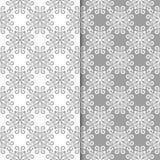 Ambiti di provenienza floreali bianchi e grigi Insieme dei reticoli senza giunte Fotografia Stock