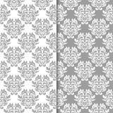 Ambiti di provenienza floreali bianchi e grigi Insieme dei reticoli senza giunte Fotografie Stock Libere da Diritti