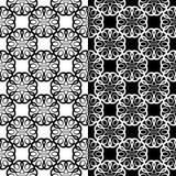 Ambiti di provenienza floreali in bianco e nero Insieme dei modelli senza cuciture monocromatici Fotografie Stock