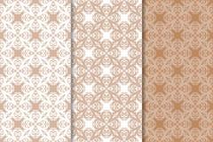 Ambiti di provenienza floreali di Brown Insieme dei reticoli senza giunte Fotografia Stock
