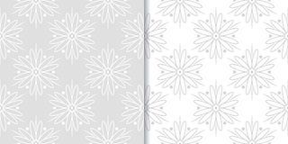 Ambiti di provenienza floreali grigio chiaro Insieme dei reticoli senza giunte Fotografia Stock