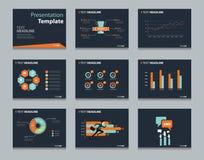 Ambiti di provenienza infographic neri di progettazione del modello di PowerPoint Insieme del modello di presentazione di affari Fotografia Stock