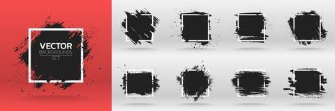 Ambiti di provenienza di lerciume messi Spazzoli il colpo nero dell'inchiostro della pittura sopra la struttura quadrata Fotografie Stock