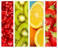 Ambiti di provenienza sani dell'alimento, quattro immagini delle fragole, kiwi, luccio Fotografia Stock Libera da Diritti