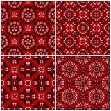 Ambiti di provenienza senza cuciture rossi con i modelli floreali in bianco e nero Fotografia Stock Libera da Diritti