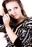Ambitie en hebzucht in maniervrouw met juwelen Stock Afbeelding
