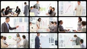 Ambitieuze bedrijfsmensen bij een presentatie stock video